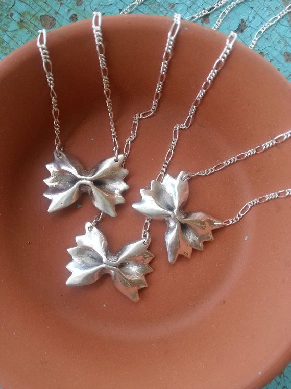 Farfalle Pasta Pendant Necklace in Sterling Silver- mini bow tie Italian pride jewelry cute gift idea for her