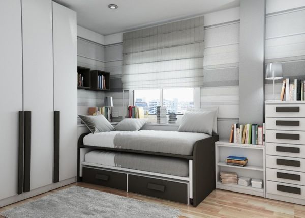Gray bed young man teen design shelves window Cabinet books