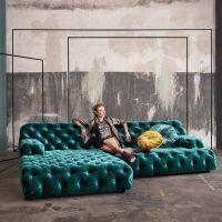 COCOA ISLAND Chesterfield Sectional Sofa by BRETZ. Blue velvet.
