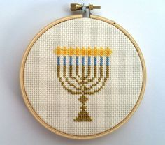 Celebrate the Festival of Lights! :)    This cross stitch is the perfect decoration for your (or friend or familys) home this holiday season!