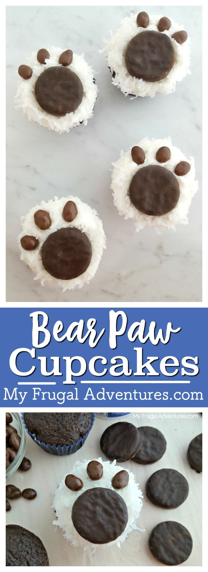 Simple and delicious bear paw cupcakes.  These are adorable and the kids will love them!