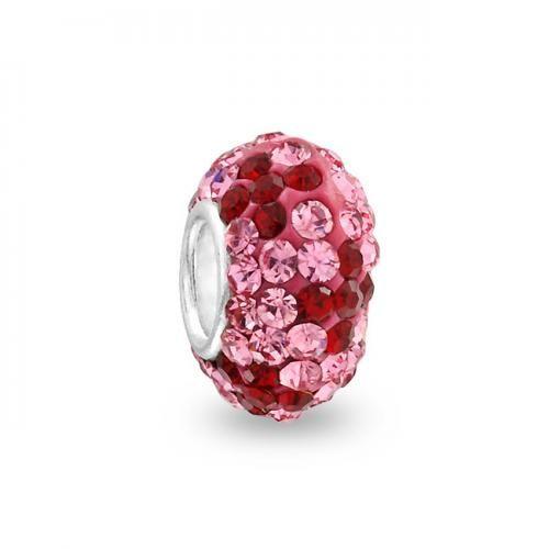 925, Swarovski Crystal Dark Red and Pink Flower Bead Chamilia Compatible