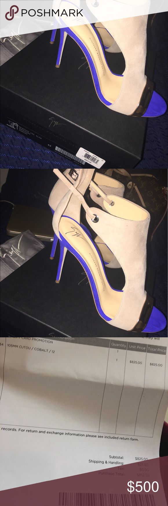 Giuseppe Zanotti I'm selling this Giuseppe Zanotti shoes. Cobalt blue. I wear size 11 shoe but these run small so I had to get a size 42/12. Only worn once Giuseppe Zanotti Shoes Heels