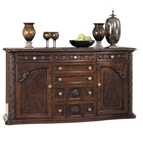 North Shore Server Console By Ashley Furniture Lovely Traditional Ornate Style Amp Rich Brown Finish Bring An Ashley Furniture Dining Room Server Furniture