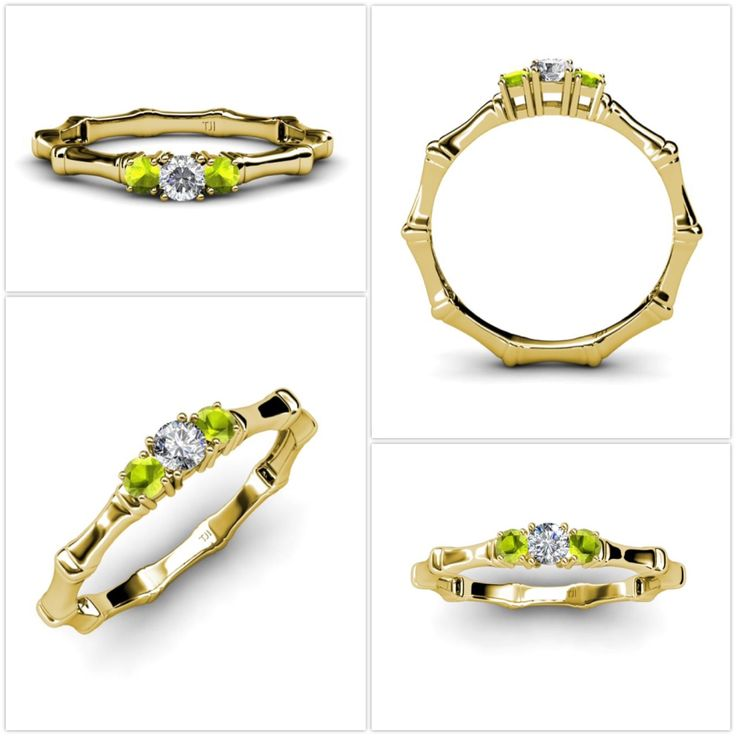 This ring is sure to put a smile on her face.... #diamond #peridot #engagementring #threestone #3stonering #past #present #future #love #gift #finejewelry #trijewels