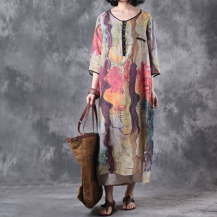 Women Summer Colorful Linen Dress
