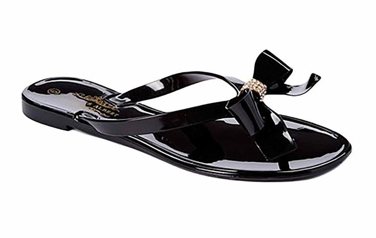 Charles Albert Women's Jelly Flip Flop Sandal with Rhinestone Bow * Wow! I love this. Check it out now! - Jelly Sandals