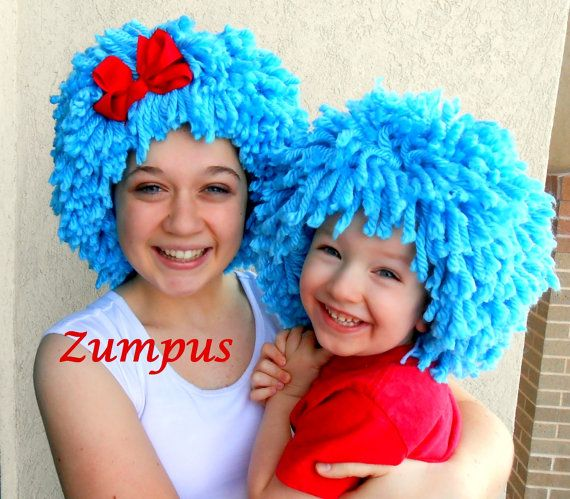 Thing 1 Thing 2 Wigs 2 Bright Blue Wigs Red Bow by Zumpus on Etsy, #wigs #thing #one #two #blue #halloween #costume #party #crochet #zumpus #etsy