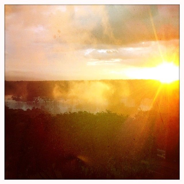 Amazing sunset from the tower of the Das Cataratas Hotel in Iguazzu, Brazil