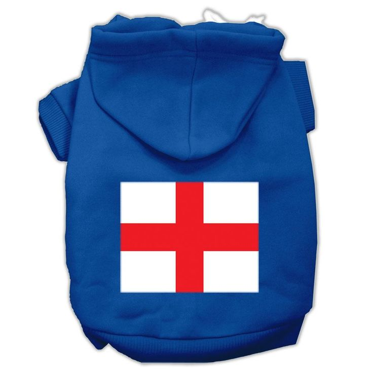 St. George's Cross (English Flag) Screen Print Pet Hoodies Blue Size Med (12)