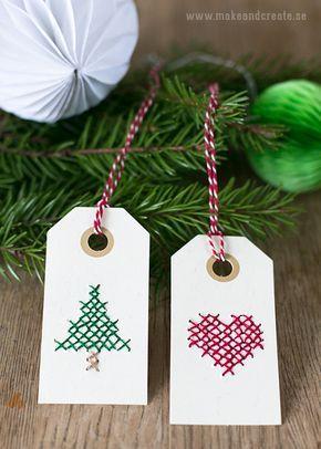 Broderade juletiketter - Pyssel & pysseltips - Make & Create