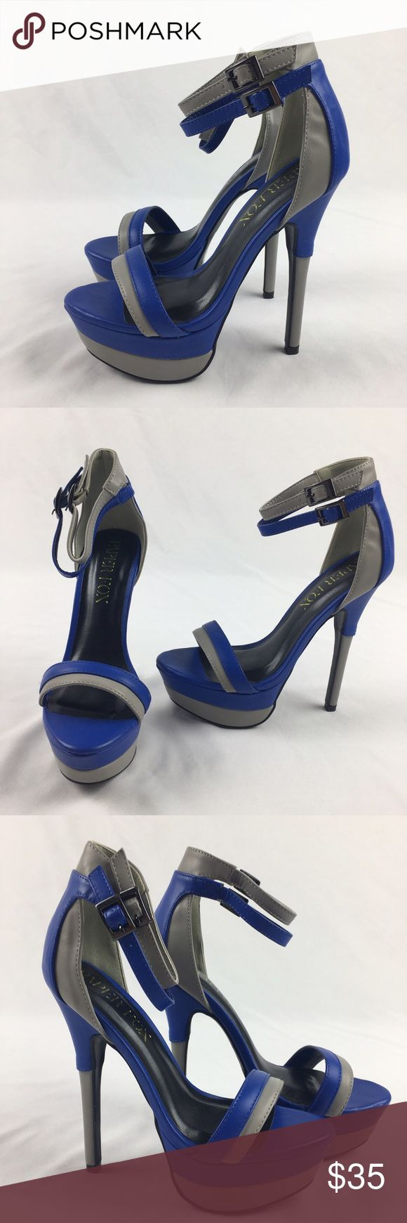 🎉sale🎉 New Paper Fox Nanine Blue Sandal Heels Gorgeous blue and gray sandal heels by Paper Fox. One small mark as pictured. Size 7. 6 inch heel. New, never worn. ❗️❗️PRICE FIRM❗️❗️ Paper Fox Shoes Heels