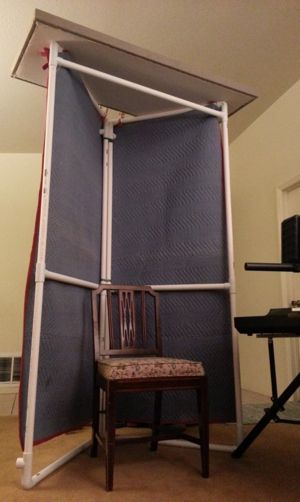 What's an effective way to improve location recording acoustics with low cost materials? Portable Recording Booth. http://randycoppinger.com/2013/01/08/portable-recording-booth/