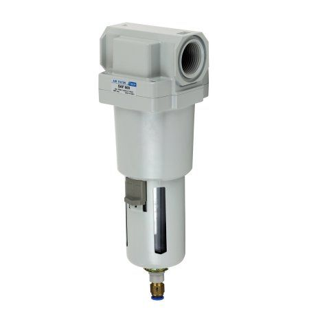 PneumaticPlus SAF600-N10BD Compressed Air Particulate Filter 1 inch NPT, 10 Micron - Poly Bowl, Auto Drain, Bracket