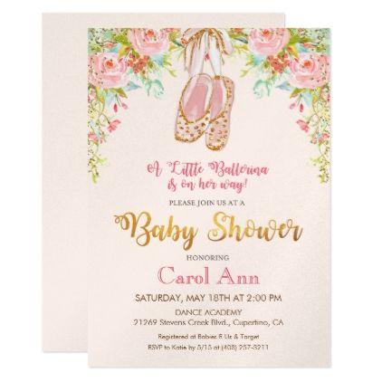 #floral - #Floral Ballet Shoes Baby Shower Invitation