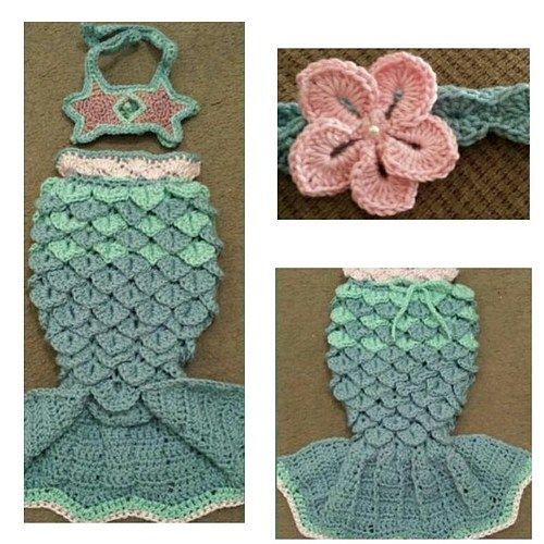 Very beautiful baby girl mermaid outfit,handmade to perfection by me using 100 % baby soft yarn, washable and dryable as all details are handsewn no glue.