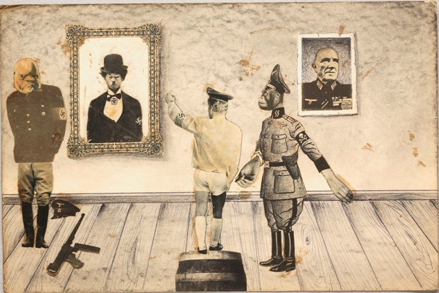 """Ion Barladeanu, contemporary Romanian artist (1946). Though important today, he lived in the trash room of an apartment complex in Bucharest. Until a couple of years ago, no one had ever seen Barladeanu's art; he created his politically charged collages under the oppressive regime of dictator Nicolae Ceauşescu. His recent discovery by the art world led to an Emmy Award-winning documentary about his life, """"The World According to Ion B."""""""