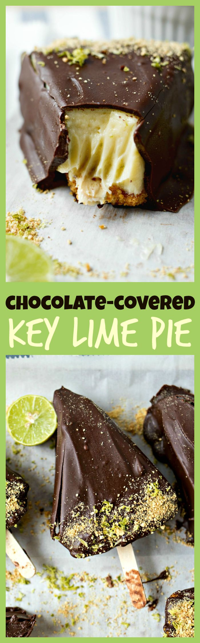Chocolate-Covered Key Lime Pie – A rich and tangy slice of key lime pie dipped in creamy dark chocolate. It's a cool and refreshing treat to enjoy all summer long!