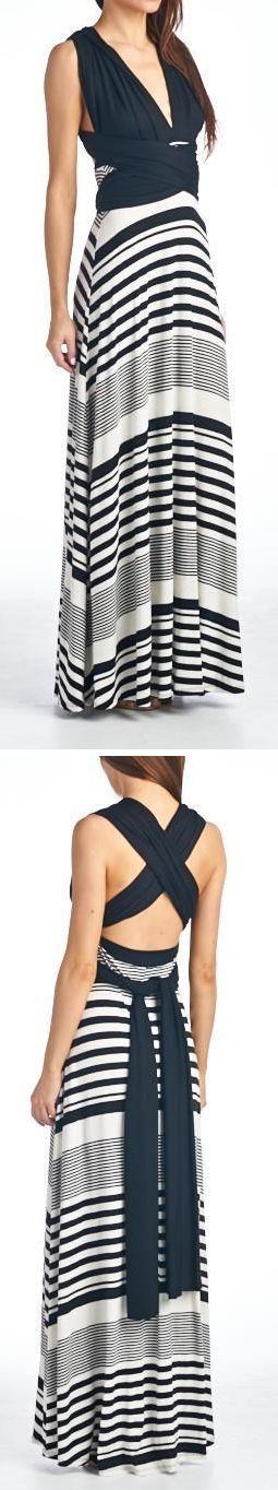 Stripe Halter Maxi Dress //