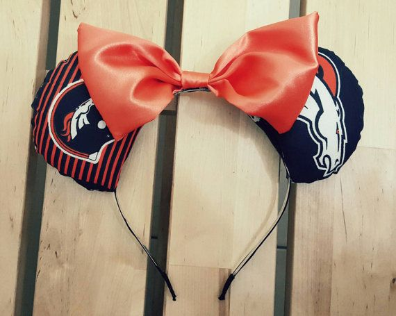 Denver Broncos Satin Bow Mickey/ Minnie by jacquelinealicialove