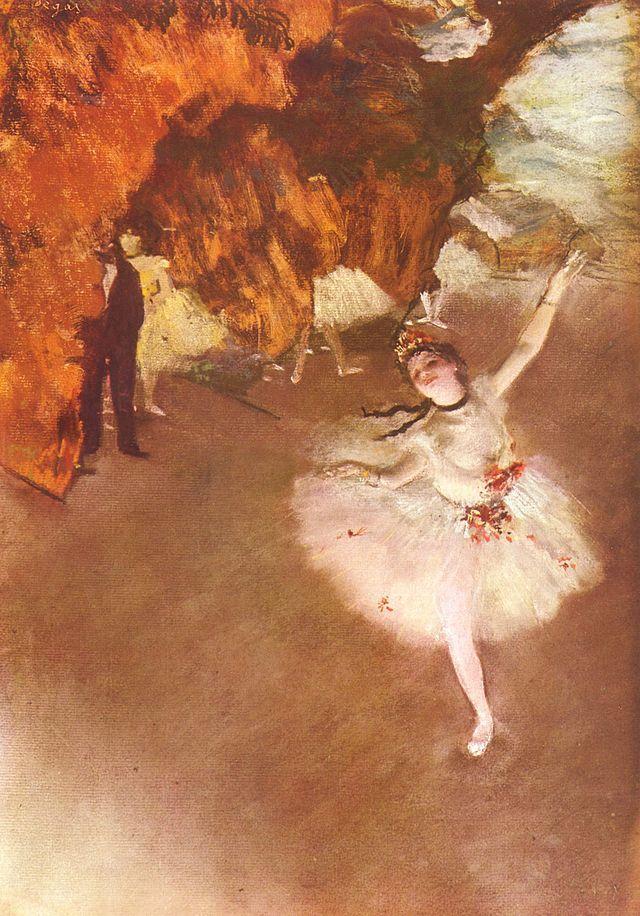 """""""Balletto-L'étoile"""", Edgar Degas, 1880; pastello su carta, 58×42 cm; il pastello è conservato presso il Museo d'Orsay, Parigi."""