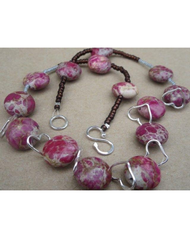 Jasper Gemstone Necklace 00013 www.kbrownjewellery.etsy.com #Pink & Natural #JasperGemstoneNecklace #Heart Necklace #Sterling Silver Heart Necklace 20% discount on subsequent order
