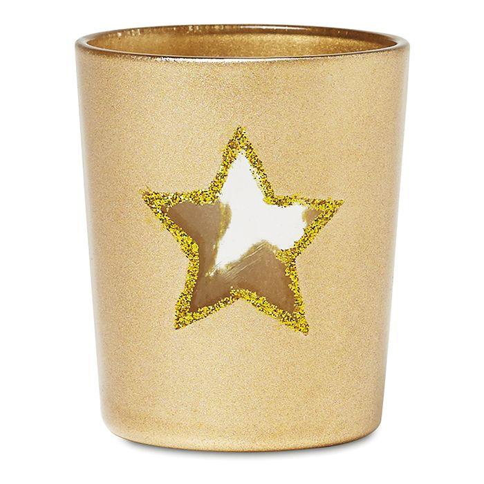 Vela de cristal adornada con estrellas en purpurina y estuche a juego. Incluye una vela. www.tusregalosdeempresa.com