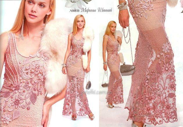 Шикарное платье Марины Шеиной. Как вязать