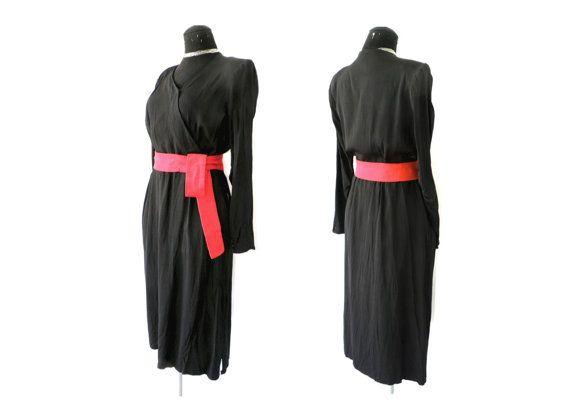 Años 40 vestido de seda negro 1940s 1930s 30s 30 por MeAndTheMajor