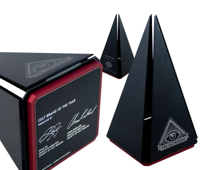 We custom designed and handcrafted these unique custom pyramid trophies / awards specifically for The Gathering Awards ceremony.