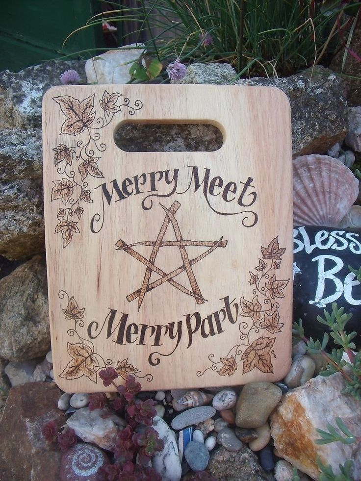 merry meet altar board wiccan pagan pentagram wall hanging pyrography in