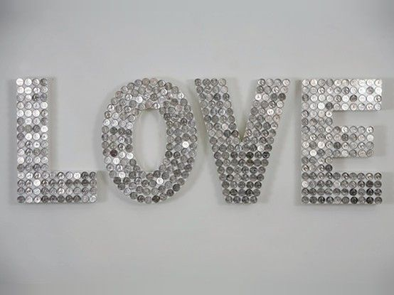 love in sparkles: Mirror, Idea, Diy Crafts, Wood Letters, Pennies, Buttons, Diy Wall Decor, Silver Coins, Wooden Letters