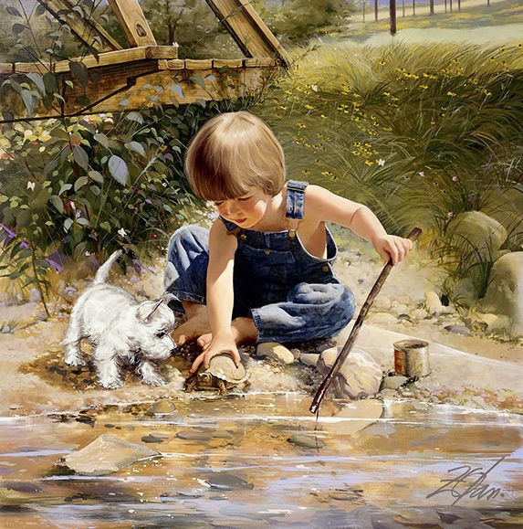 Donald Zolan, artist - Title? Boy with puppy by creek