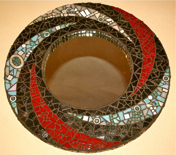 Mosaic Swirl Mirror  Vitreous glass, smalti, bits of jewellery