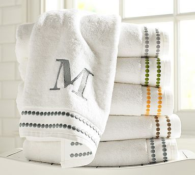 pearl embroidered 700gram weight bath towels potterybarn