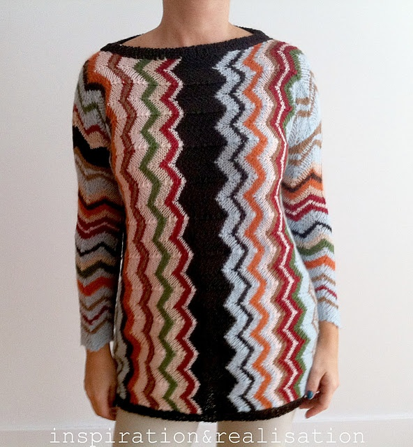 Missoni inspired sweater zig-zag #diy #knitting #sweater #tutorial