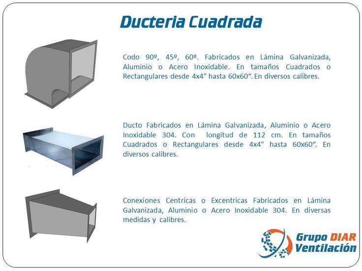 Ducteria cuadrada Ducteria en lamina galvanizada, lamina pintro, lamina negra, acero inoxidable y aluminio. Se Fabrica en diversos calibres y medidas.