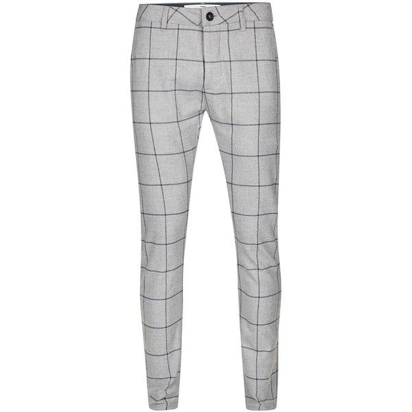 TOPMAN Grey Check Stretch Skinny Trousers ($45) ❤ liked on Polyvore featuring men's fashion, men's clothing, men's pants, men's casual pants, grey, mens grey dress pants, mens polyester pants, mens checkered pants, mens skinny pants and mens gray pants