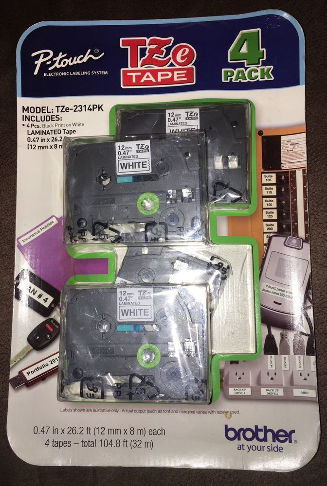 Brother 4 Value Pack P Touch Tape Tze2314pk White Laminated Durable Tape Ebay Ebay White Laminate Tape