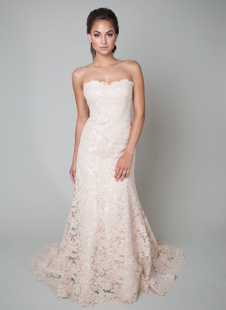 @heidielnora Lucille Lowe dress is right on trend thanks to the blush color of this gown. The all-over Alencon lace, slight sweetheart neckline and fit-to-flare style make this is an elegant choice.
