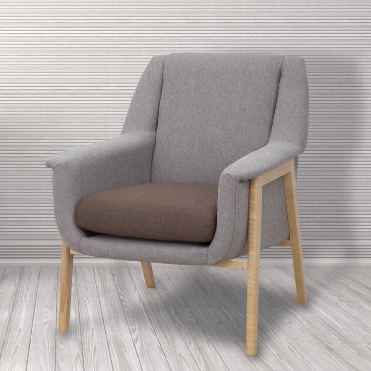 Poltronain legno di betulla con seduta imbottita e rivestimento in tessuto poliestere.