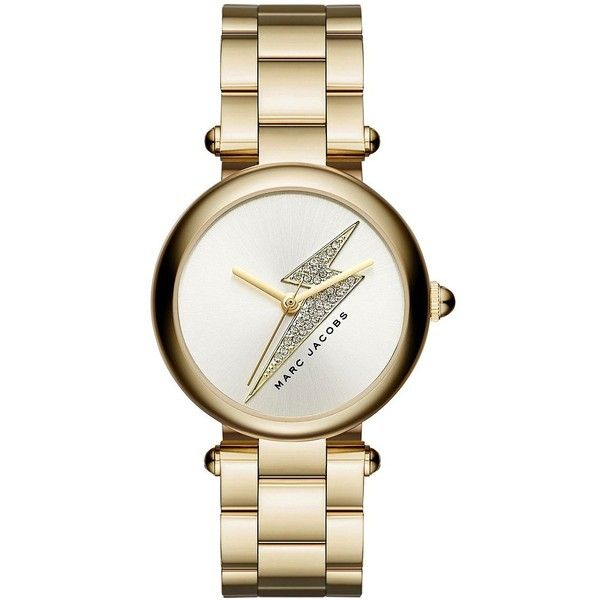 Marc Jacobs Dotty Goldtone Stainless Steel Lightning Bolt Three-Hand... ($250) ❤ liked on Polyvore featuring jewelry, watches, gold, water resistant watches, stainless steel watch bracelet, butterfly jewelry, stainless steel bracelet watch and bracelet watch