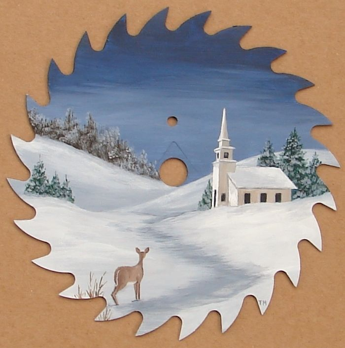 Hand Painted Saw Blade Country Church Snow Deer Lodge Cabin Decor Folk Art in Crafts, Handcrafted & Finished Pieces, Handpainted Items | eBay