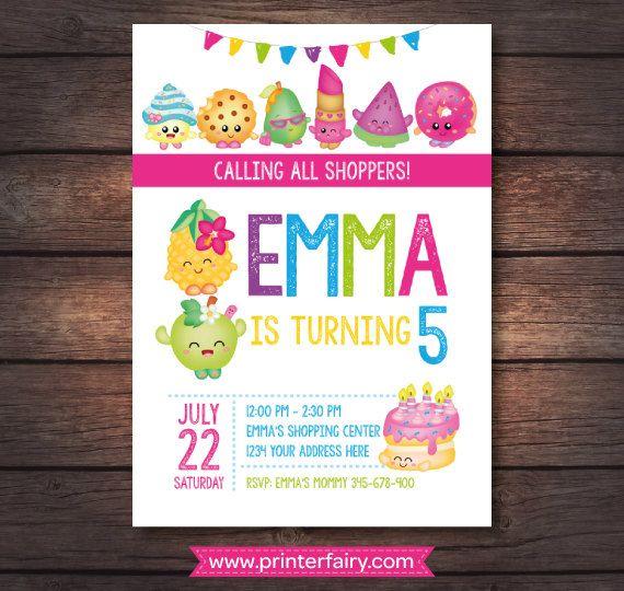 Shopkins Invitation Shopkins Birthday Invitation by PrinterFairy