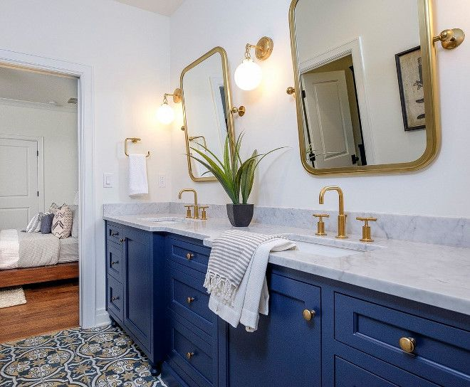 6871 best images about bathrooms on pinterest beautiful for Blue and gold bathroom sets