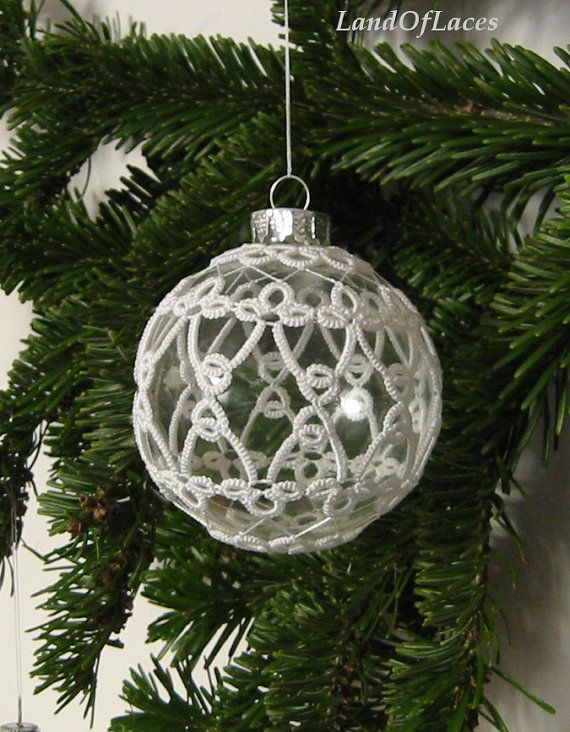 Victorian Christmas Clear glass ball with tatted by LandOfLaces