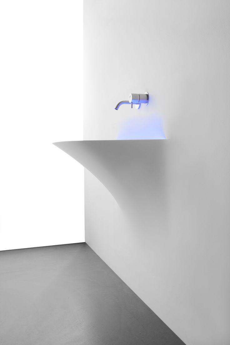 Corian® #washbasin with light SOFFIO by Antonio Lupi Design