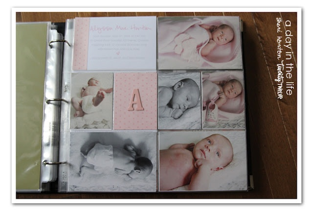 Several layouts of a baby book using Project Life.  Awesome inspiration.