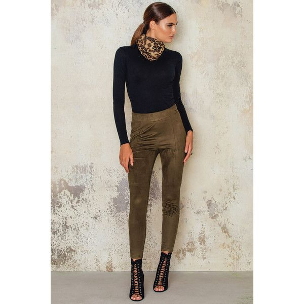 Josefin Ekstrom for NA-KD Suede Pants ($24) ❤ liked on Polyvore featuring pants, army green, military green pants, suede pants, green camo pants, faux suede pants and olive green pants