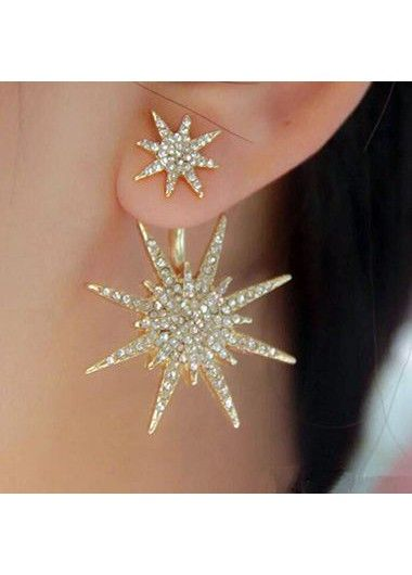 Woman Gold Metal Rhinestone Decorated Earrings  on sale only US$6.21 now, buy cheap Woman Gold Metal Rhinestone Decorated Earrings  at lulugal.com